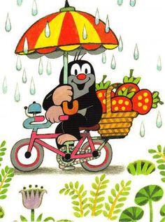 Postcard: The little mole on a bike - The lit Ansichtskarte: Der kleine Maulwurf auf dem Fahrrad – The little mole Pet Carriers, Cute Cartoon Wallpapers, Mole, Dog Supplies, Bead Crafts, My Childhood, Cartoon Characters, Pretty In Pink, Pikachu