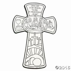 Last Supper Cross Coloring Page Sunday School Projects, Sunday School Activities, Bible Activities, Easter Activities, Cross Coloring Page, Easter Coloring Pages, Bible Coloring Pages, Coloring Rocks, Religion Catolica