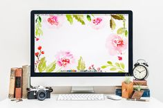 Couronne de fleurs fond d'écran  par designforhandmade sur Etsy