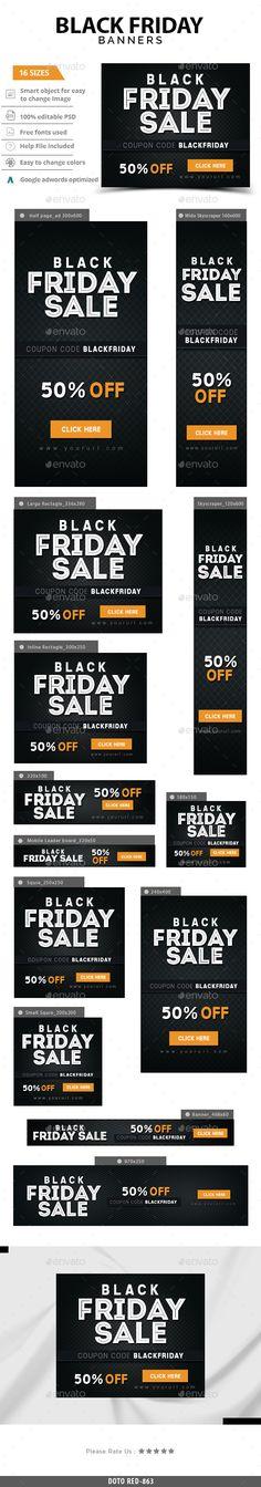 Blackfriday Web Banners Template PSD #design #ads Download: http://graphicriver.net/item/blackfriday-banners/13737246?ref=ksioks