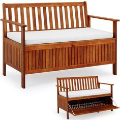 01aba05f700bd6 Wooden Garden Bench 2 Seater With Storage Chest Made of Hardwood Water  Repellent Cushion  Amazon.co.uk  Garden   Outdoors