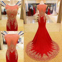 Red Prom Dress Mermaid Prom Dress Gold Appliques