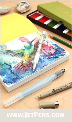 A great gift for aspiring painters, our JetPens Watercolor Starter Kit provides everything you need to create beautiful watercolor artworks! The kit contains a high quality Japanese palette, sketchbook, water brush, and other essentials.
