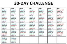 30 day challenge - Pushups, Squats, Sit-ups, and Lunges by silentpostcards