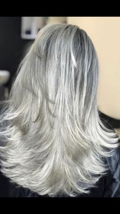 - Best Hairstyles & Haircuts for Men and Women in 2019 Grey Hair Don't Care, Long Gray Hair, Silver Grey Hair, Hair Color And Cut, Cool Hair Color, Hair Colour, Pelo Color Plata, Silver Haired Beauties, Gray Hair Highlights