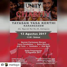 "From @mankqyo (@get_repost)  Mari menyambut hari Kemerdekaan RI ke-72 dengan  berbagi kebahagiaan di ""Unity On Charity - Chapter3"" 13 Agustus 2017  Uluran tanganmu akan membawa senyum bagi mereka yang tak seberuntung kita.. PS. Pengumpulan donasi serta informasi utk acara keakraban pada hari H dpt langsung berkoordinasi dgn saya (081353223312) maupun kontak lain yg sudah tertera di pamflet. Terima Kasih  #Charity #HUTRI72 #Bali #Karangasem #donasi"