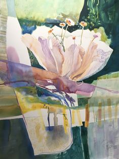 """Watercolor on Arches 100% rag paper 30x22 """"Emerge"""" abstract floral painting by Dorothy Ganek"""