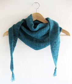 Handknit lightweight teal blue baby merino triangular garter stitch scarf 27764505c8f2d