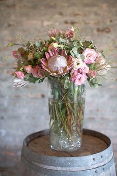 King mixed with colorful spring blooms - Cheerful! Vineyard Wedding, Farm Wedding, Wedding Events, Protea Wedding, Floral Wedding, Pink Flower Arrangements, Bicycle Wedding, Wedding Cakes With Flowers, Spring Blooms