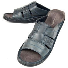 SIZE 8 CLARKS WOMENS OPEN TOE MULE SLIDES SANDALS WOVEN NAVY LEATHER COMFORT SHOES