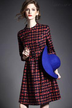 Doresuwe.com SUPPLIES ヨーロッパ2015秋新レディースファッション 気質セレブ七分Aーラインワンピース デートワンピース (3)