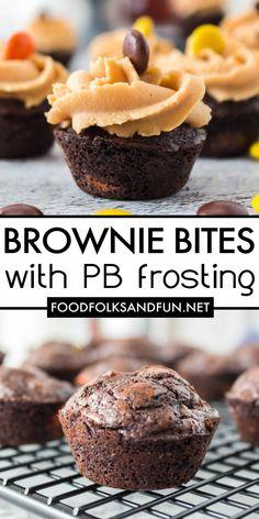 Mini Brownie Bites, Brownie Bites Recipe, Mini Brownies, Brownie Recipes, Cupcake Recipes, Dessert Recipes, Dessert Dips, Fruit Dessert, Sugar Free Peanut Butter