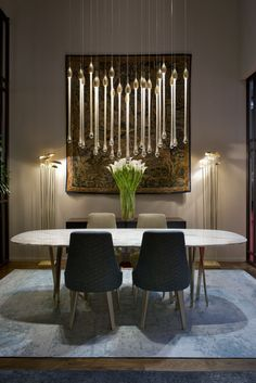 Murano glass pendant lamp ALLURE By Paolo Castelli design Paolo Castelli Luxury Interior Design, Contemporary Interior, Interior Design Inspiration, Interior Decorating, Luxury Dining Room, Dining Room Lighting, Dining Room Design, Luxury Lighting, Lighting Design