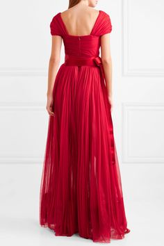 Red silk-chiffon and satin Concealed hook and zip fastening at back silk; Dolce And Gabbana Earrings, Red Belt, Satin Sash, Chiffon Gown, Gathered Skirt, Fashion Outfits, Women's Fashion, Gowns, Formal Dresses