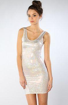 White Hot HOLOGRAM Dress : Spandex Dress with Holographic sparkle silver print. $45.00, via Etsy.
