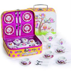 SALE!!  Cheaper Price!!  Tea Set Girls Kids Children Owl Design porcelain set beautiful suitcase quality