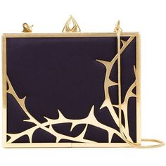Lulu Guinness 'Chloe' clutch (5,275 CNY) ❤ liked on Polyvore featuring bags, handbags, clutches, black, chloe, metallic, gold metallic purse, metallic handbags, gold metallic handbags and chain-strap handbags