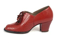 1940s Red Leather Open Toe Pumps with Decorative Perforation.