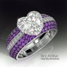 Eclipse ring with a Blaze® diamond halo and two purple amethyst ring enhancers (Product code: 1ECL-35602AM). #diamondjewelry #blazediamonds #engagementrings www.bezambara.com