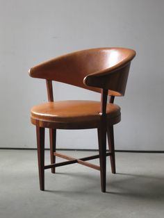Round Back Chair by Frits Henningsen circa 1930s  |  European walnut, natural Nigerian leather
