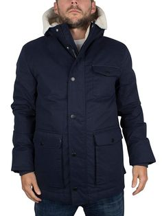 Lyle & Scott Men's Shearling Lined Logo Parka Jacket, Blue, Medium: Amazon.co.uk: Clothing