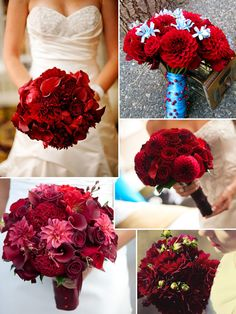 All red bouquets