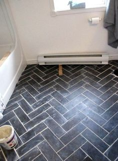 DIY Herringbone Floor Using Peel n' Stick Luxury Vinyl Tile! For bathroom floor Luxury Vinyl Tile Flooring, Vinyl Tiles, Vinyl Flooring Bathroom, Diy Flooring, Flooring Options, Cheap Flooring Ideas Diy, Cheap Remodeling Ideas, Groutable Vinyl Tile, Ideas