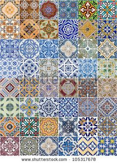 Set of 48 ceramic tiles patterns from Portugal. by homydesign, via Shutterstock