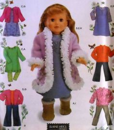 "18"" Winter Doll Clothes Sewing Pattern"