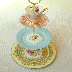 "Pastel ""layer cake"" tiered cake plate, tea tray or serving centerpiece of vintage English fine bone china by High Tea For Alice"