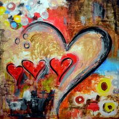 Using a variety of shapes and colors Ivan Guaderrama creates a fun and up beat Heart art piece by incorporating inks in with the acrylics and textured stencils. Ivan Guaderrama is a plastic artist located at the San Jose del Cabo Art District.