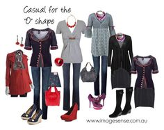 Petite Plus size Apple outfits. All great choices. Single rows of buttons on shirts and coat add length to the torso, wedges add height, neat bags keep silhouette uncluttered, V necklines add to a long and lean illusion.