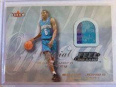 2000-01 Fleer EDDIE JONES Feel The Game 2 Color Jersey Patch Card Hornets Heat #CharlotteHornets
