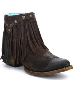 For the finest western boots, the brand to trust is Corral Boots. These handcrafted boots are made with high quality exotic skins and leather by the most Short Cowgirl Boots, Kids Western Boots, Cowboy Boots, Cowboy Western, Cowgirl Style, Western Wear, Fringe Ankle Boots, Fringe Booties, Leather Booties