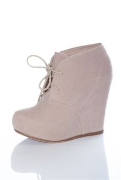 Closed Toe Laced Wedges - Nude from Casual & Day at Lucky 21 Lucky 21