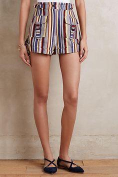 Striped Linen Shorts - anthropologie.com