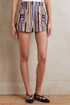 Striped Linen Shorts - anthropologie.com