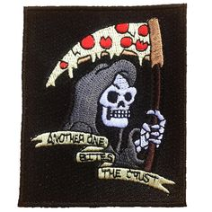 Another One Bites The Crust Embroidered #pizza punk vest #patch