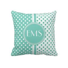 Cool green & white Polka Dot cushion :-) would look awesome with Hot pink and black combo
