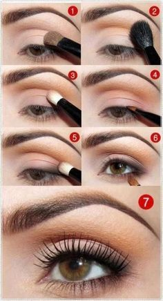 Step by step - natural eyeshadow. Wish I knew the brand and colors used.