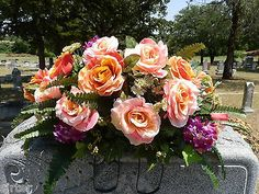 Headstone Memorial Tombstone Cemetery Silk Flower Saddle/ Wreath/ Pink & Coral