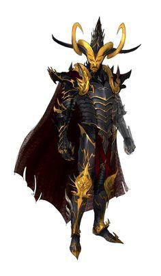 Evil Black and Gold Antipaladin Dark Elf Noble - Pathfinder PFRPG DND D&D d20 fantasy
