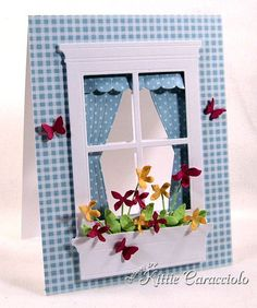 KC Poppy Stamps Grand MAdison Window 11 right Flower Boxes, Flower Cards, Flowers, Memory Box Cards, Window Cards, Copics, Cool Cards, Creative Cards, Greeting Cards Handmade
