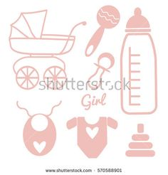 Vector baby and newborn set for a girl child