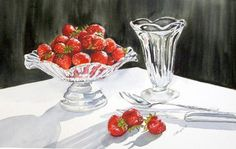 Still life Strawberries, Painted by Sharon Douglas in watercolours. www.sharondouglas.weebly.com