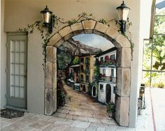 weather proof wall decals | Door Wall Murals Design Some Creative Ideas of Outdoor Wall Murals ...