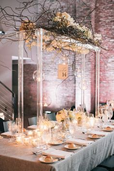 Quite possibly one of the coolest tables we've seen: http://www.stylemepretty.com/little-black-book-blog/2015/05/27/rustic-chic-hudson-river-valley-wedding/   Photography: Kelly Kollar - http://kellykollar.com/