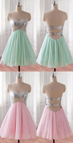 Hot Sweetheart Knee-Length Mint Homecoming Dress with Sequins Open Back