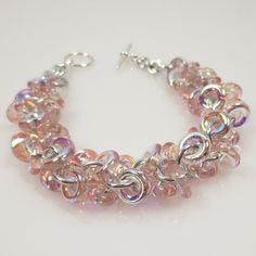 Pink Shaggy Loops Bracelet Chainmaille by katestriepenjewelry, $34.00