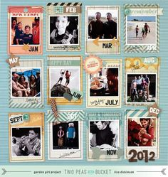 "Nice take on a ""year in review"" scrapbook page. I'd do as a double page; every other rectangle as journaling."